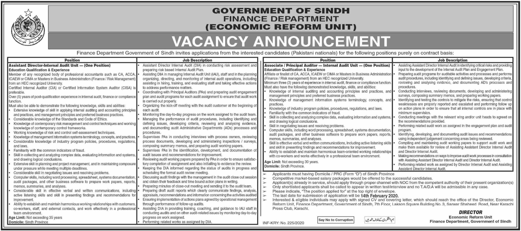 Finance Department Government of Sindh Jobs 2020