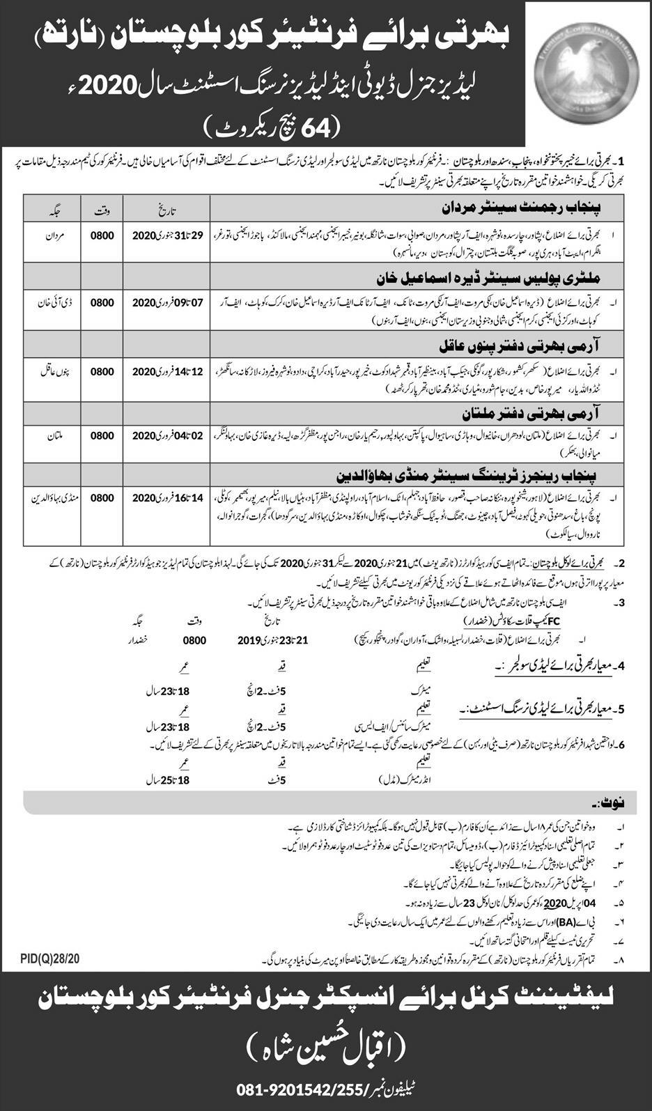 Frontier Corps FC Balochistan Jobs Ladies General Duty & Ladies Nursing Assistant 2020