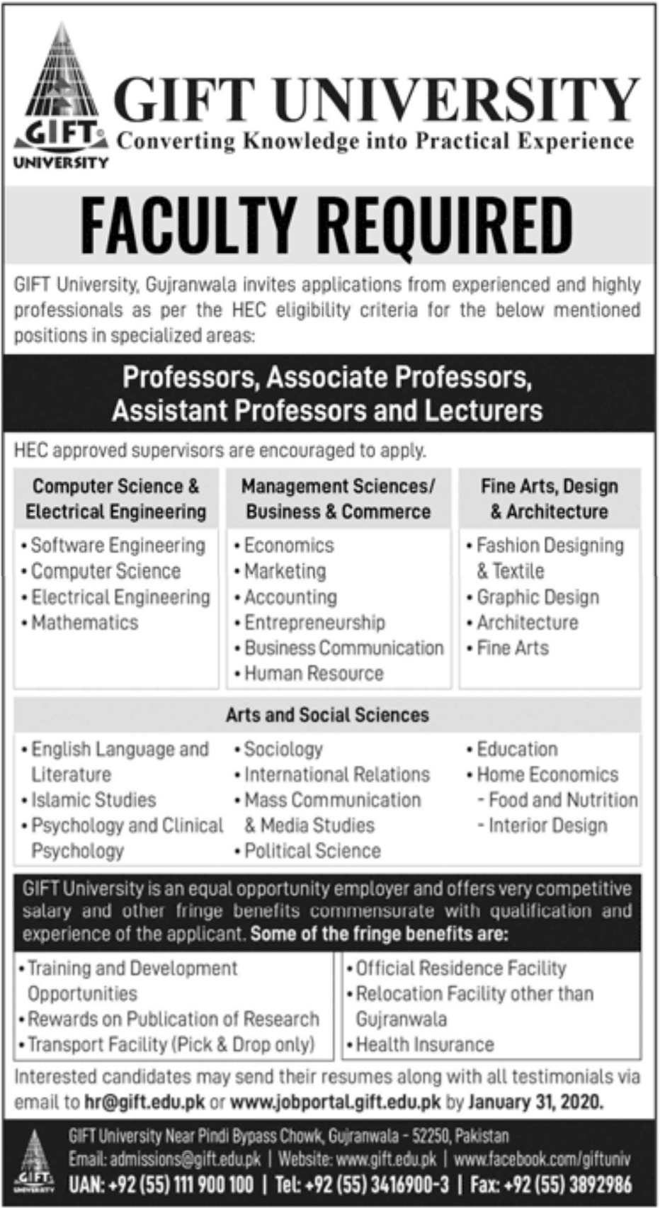 GIFT University Gujranwala Jobs 2020