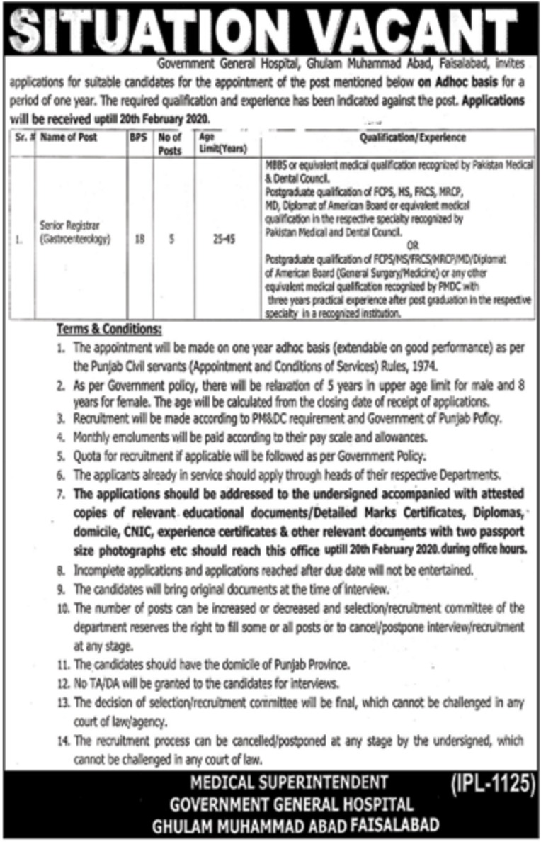 Government General Hospital Faisalabad Jobs 2020