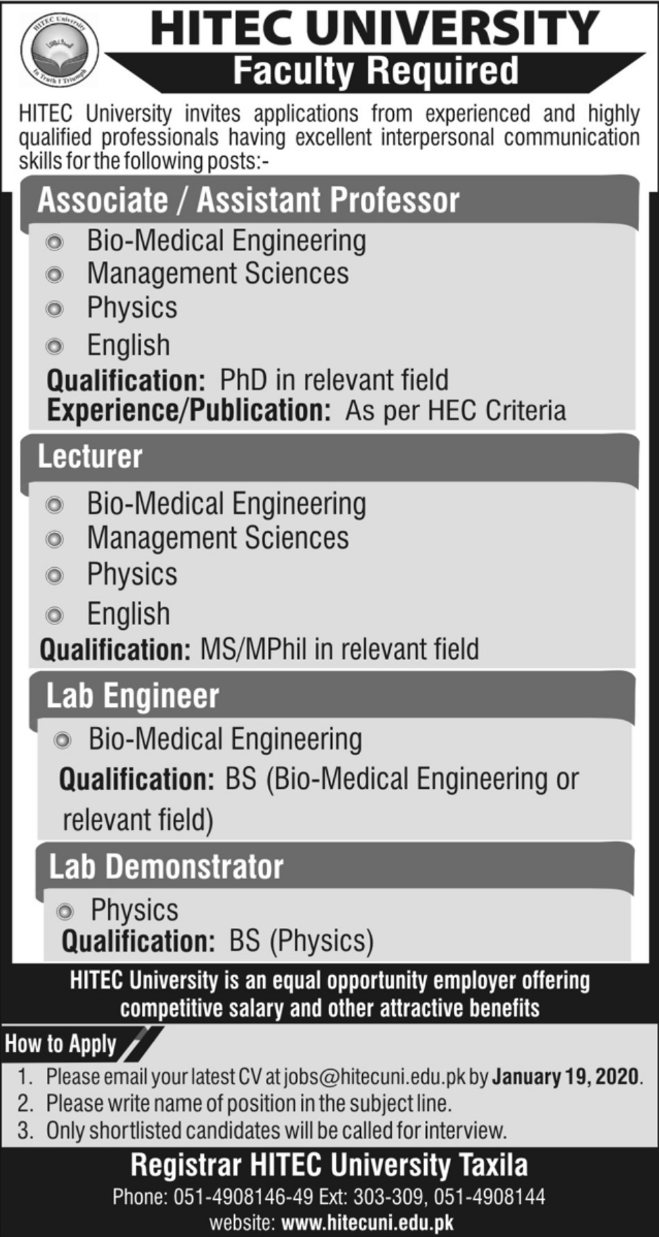 HITEC University Taxila Jobs 2020