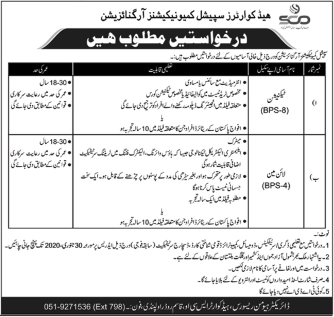 Headquarters Special Communications Organization SCO Jobs 2020 Pak Army