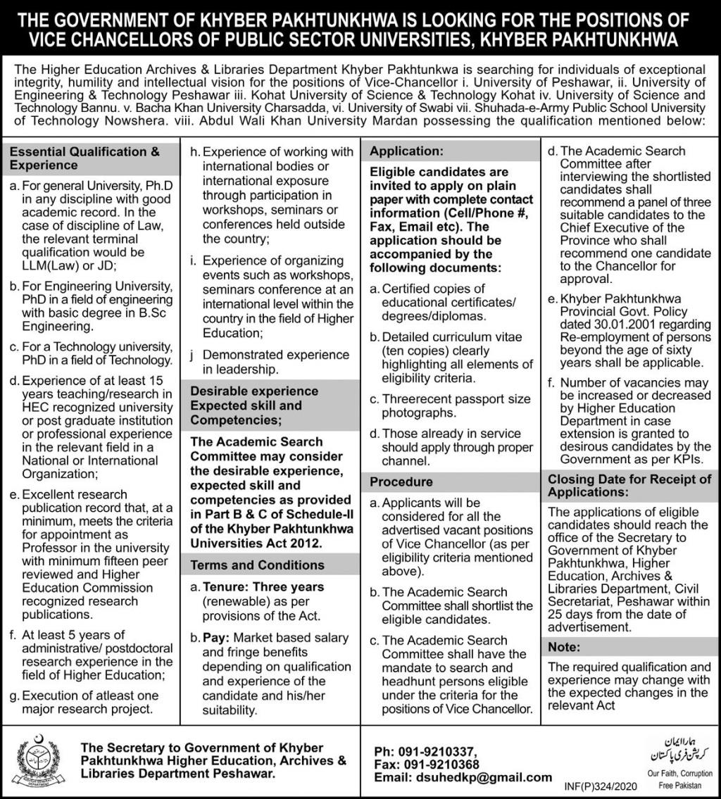 Higher Education Archives & Libraries Department Peshawar Jobs 2020 KPK