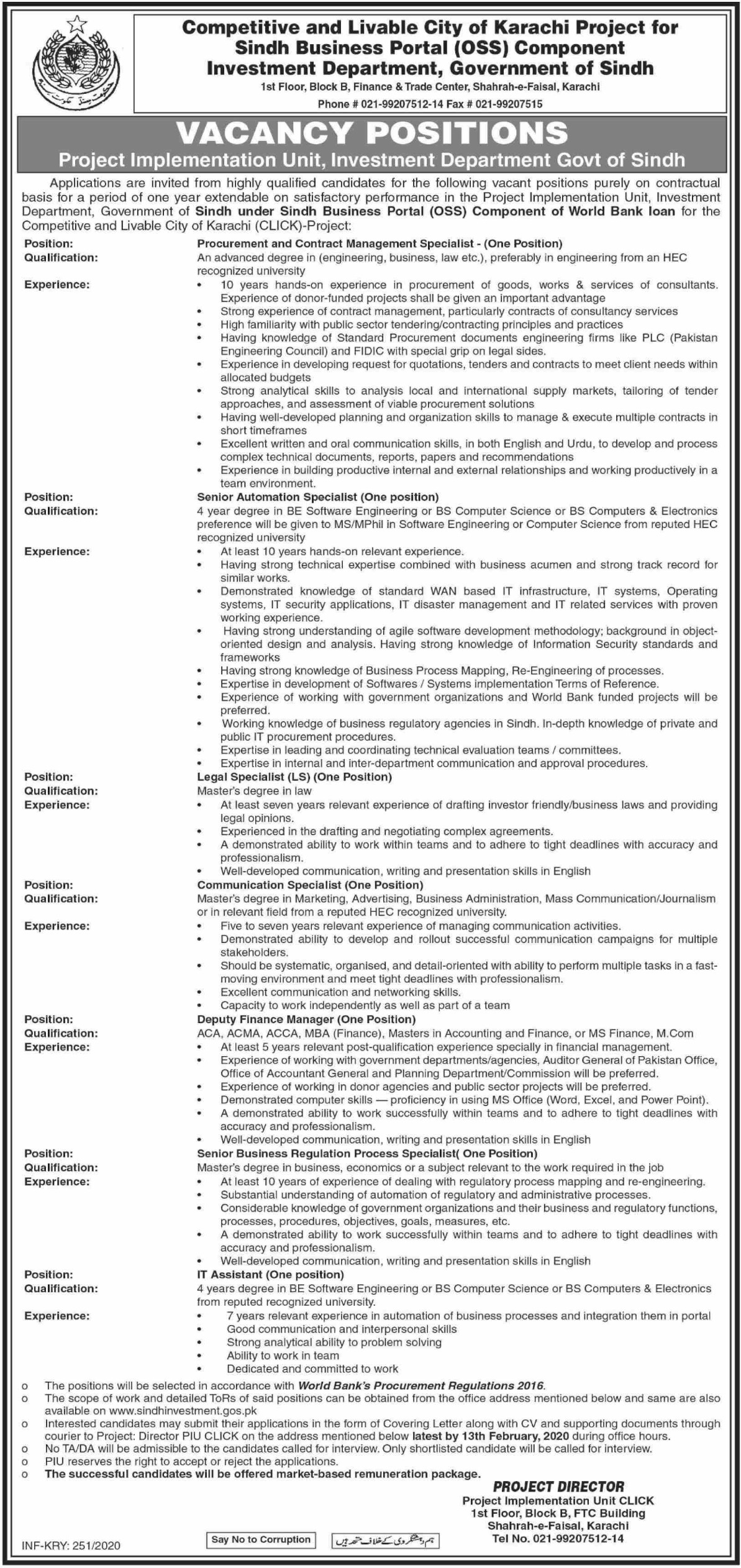 Investment Department Government of Sindh Jobs 2020