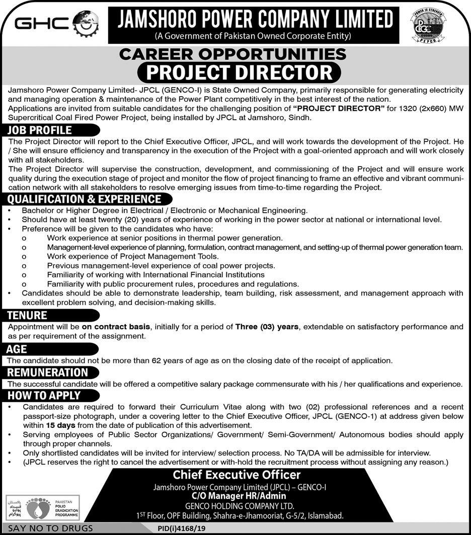 Jamshoro Power Company Limited JPCL GENCO Jobs 2020