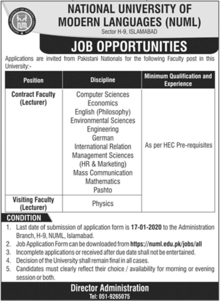 NUML Jobs 2020 National University of Modern Languages Islamabad