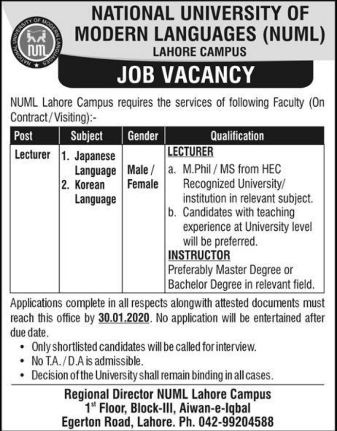 NUML Lahore Campus Jobs 2020 National University of Modern Languages