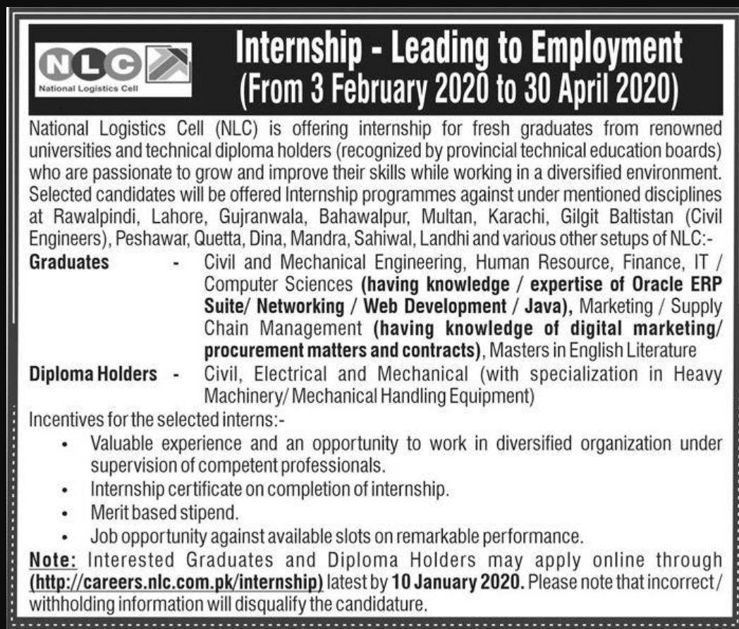 National Logistics Cell NLC Internship Opportunities 2020