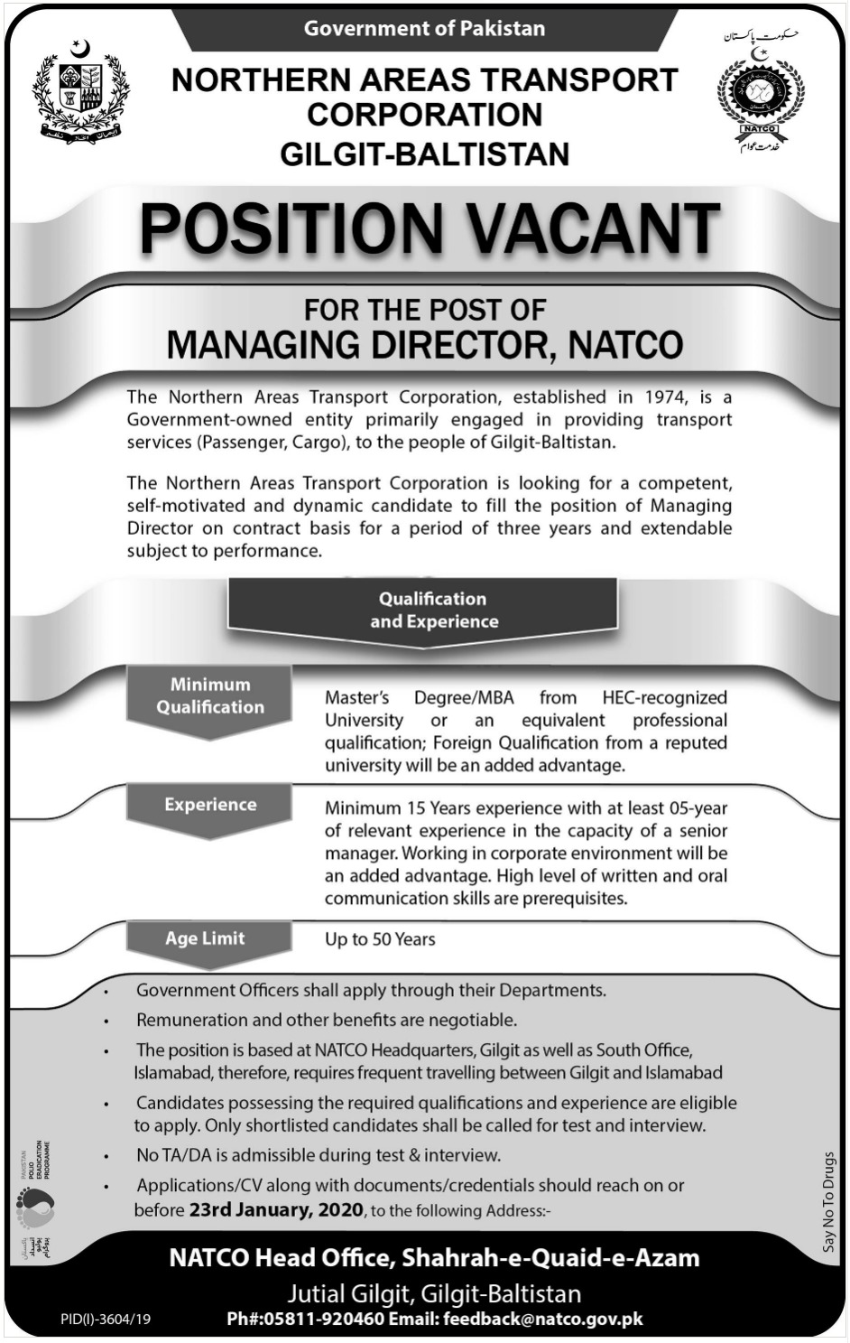 Northern Areas Transport Corporation Gilgit Baltistan Jobs 2020