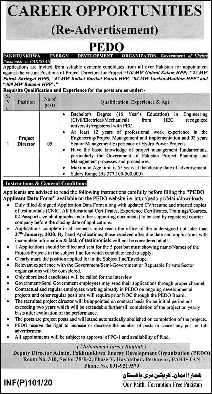 Pakhtunkhwa Energy Development Organization PEDO Jobs 2020