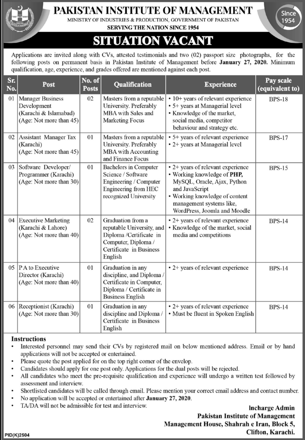 Pakistan Institute of Management Jobs 2020