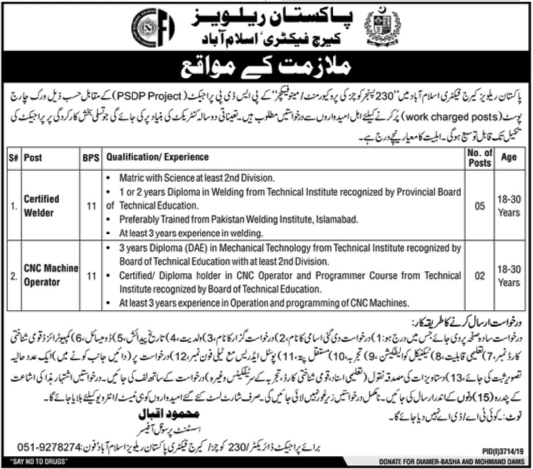 Pakistan Railways Jobs 2020 Carriage Factory Islamabad