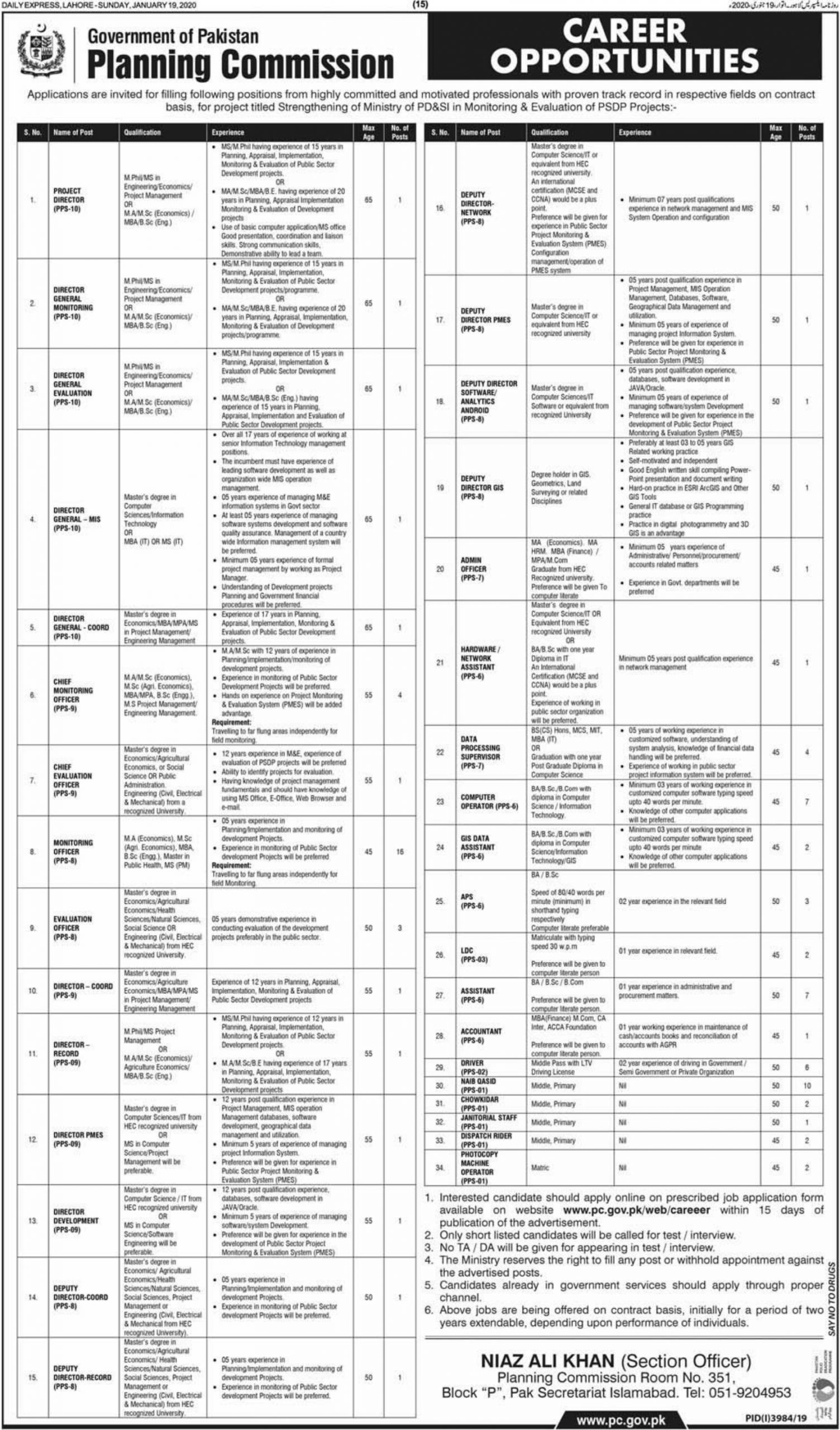 Planning Commission Jobs 2020 Government of Pakistan
