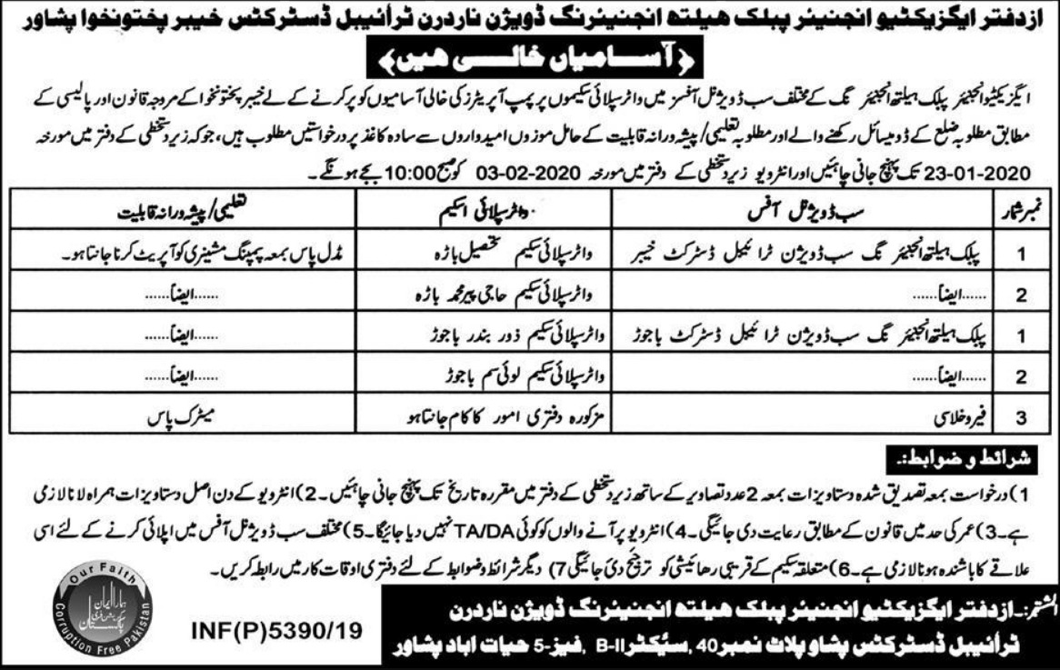 Public Health Engineering Division Peshawar Jobs 2020 KPK