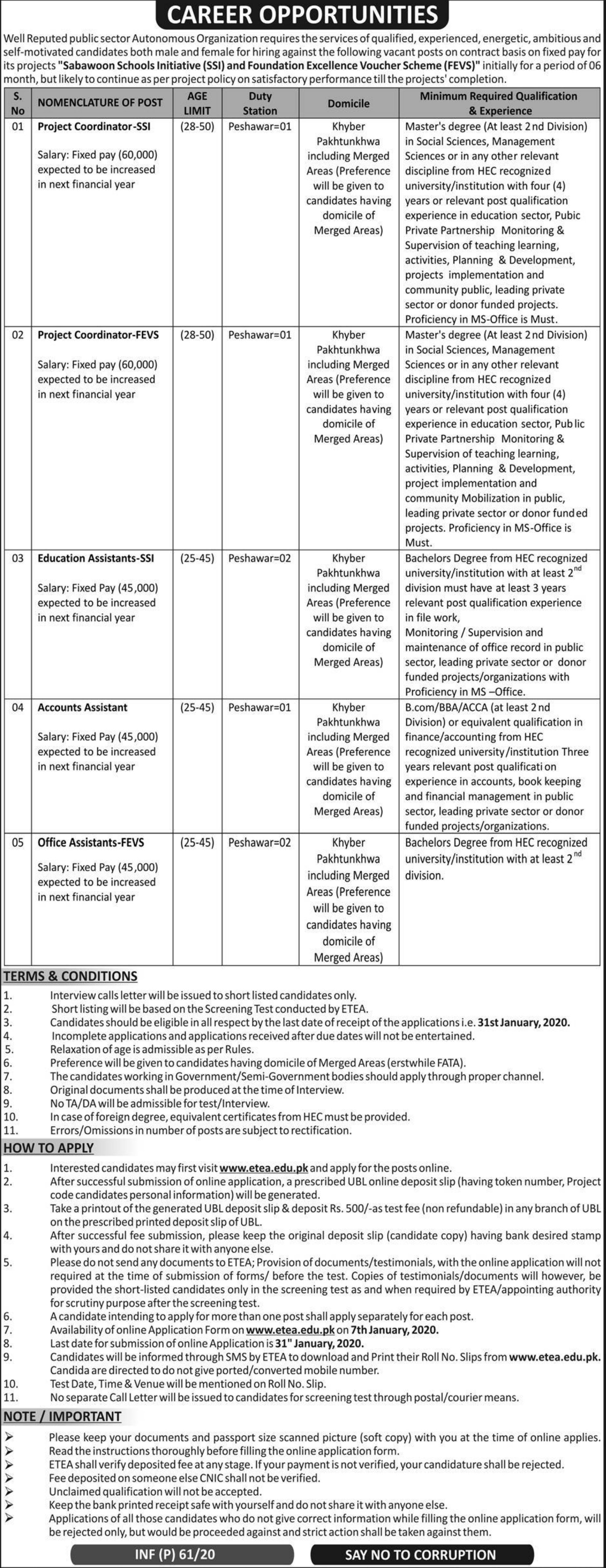 Public Sector Organization Peshawar Jobs 2020 Apply via ETEA