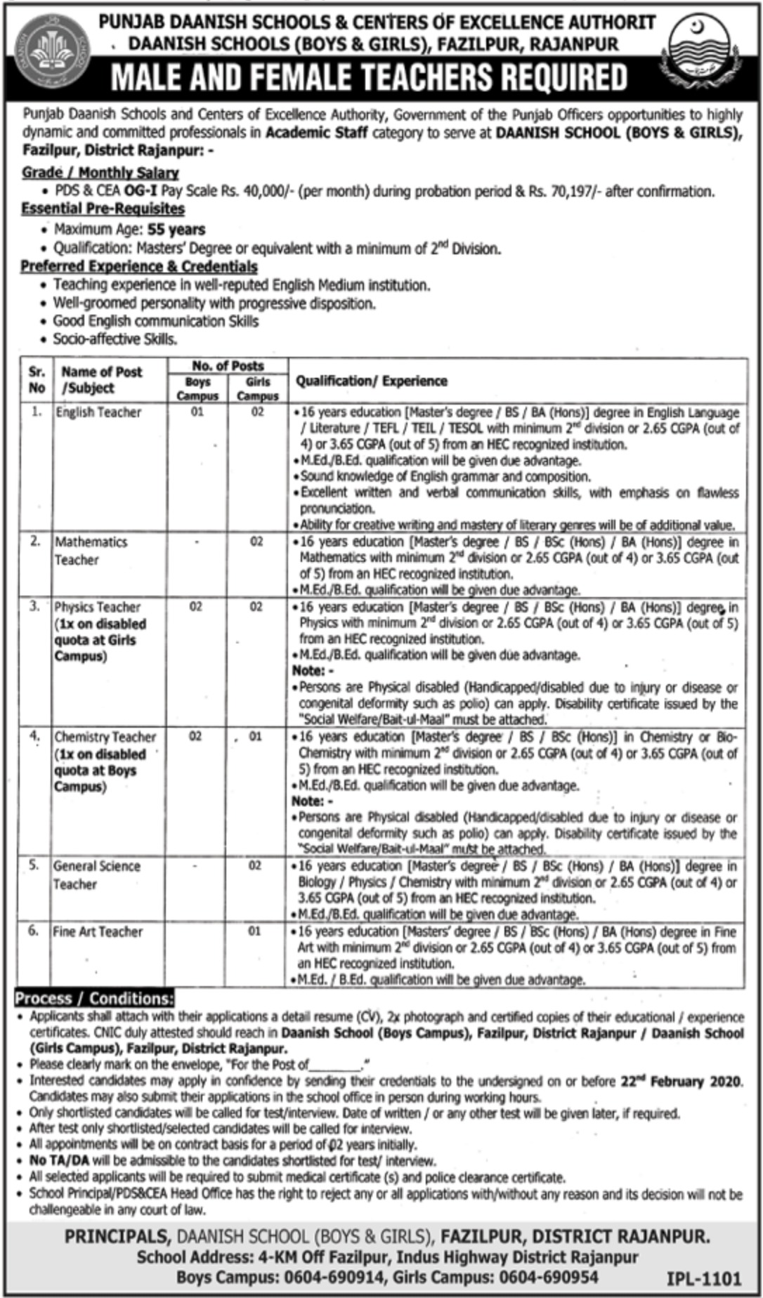 Punjab Daanish Schools & Centers of Excellence Authority Jobs 2020