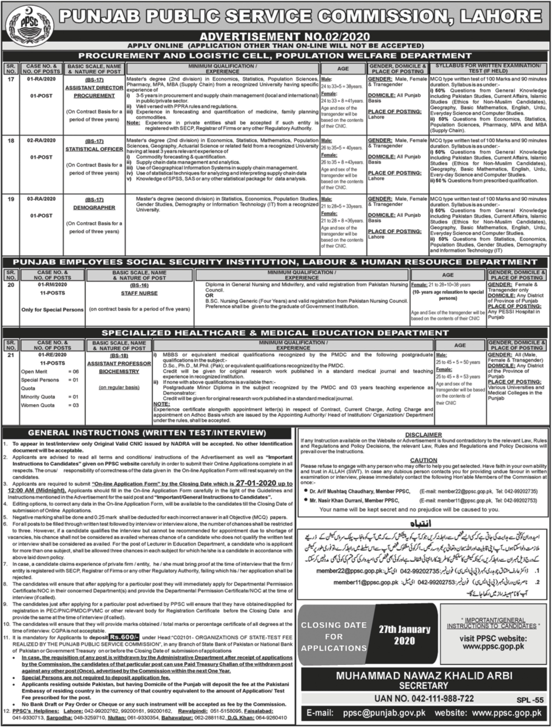 Punjab Public Service Commission PPSC Jobs 2020 Latest