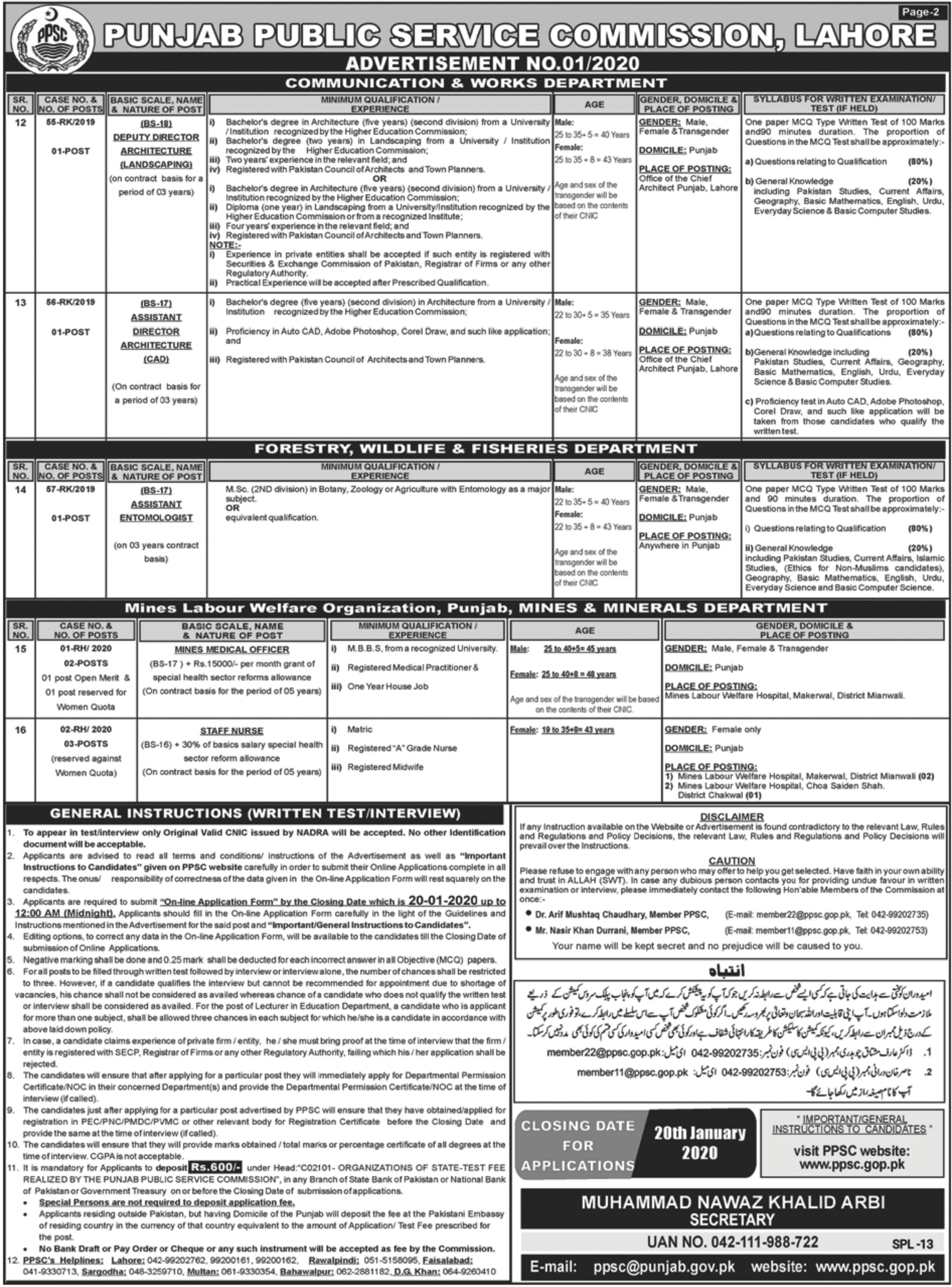Punjab Public Service Commission PPSC Jobs 2020(2)
