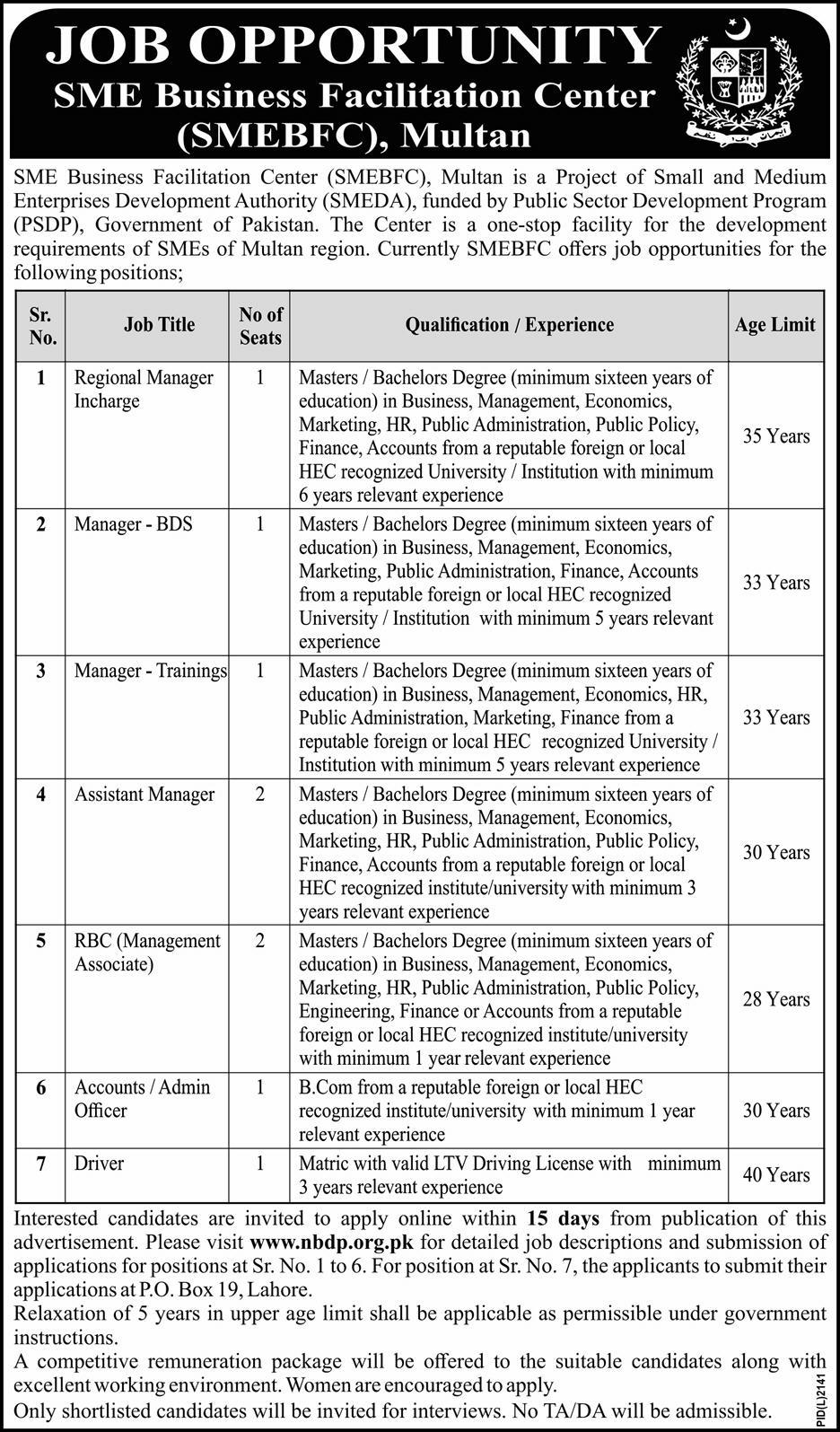 SMEBFC Multan Jobs 2020 Business Facilitation Center