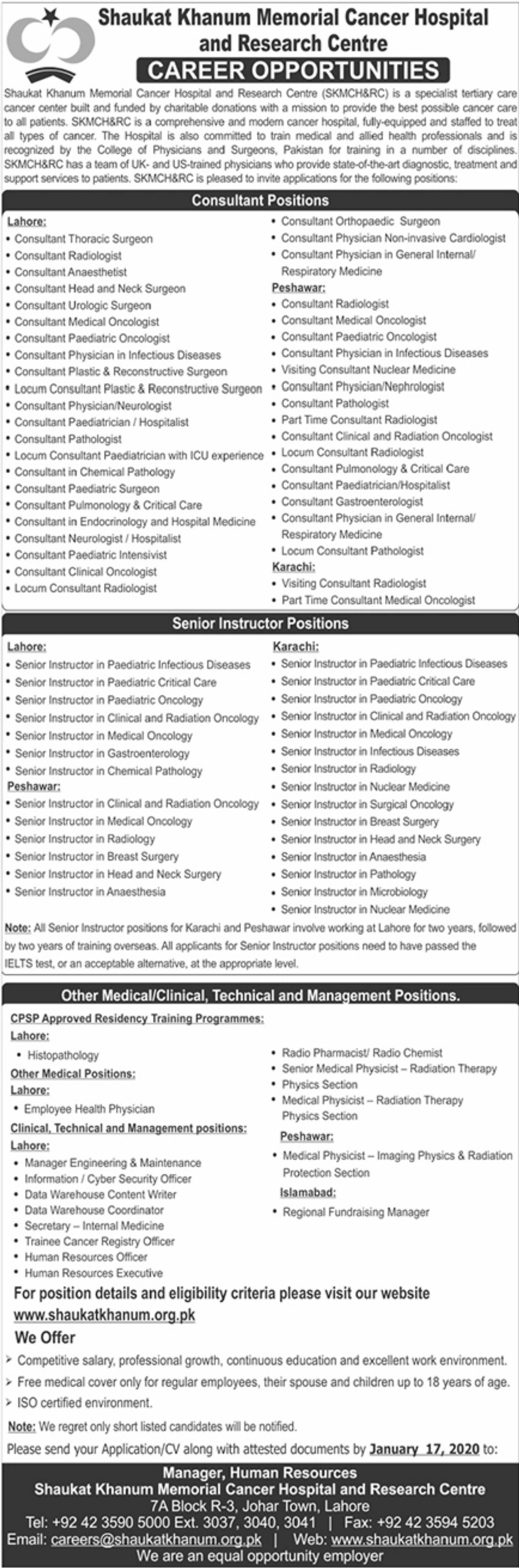 Shaukat Khanum Memorial & Cancer Hospital & Research Centre Jobs 2020