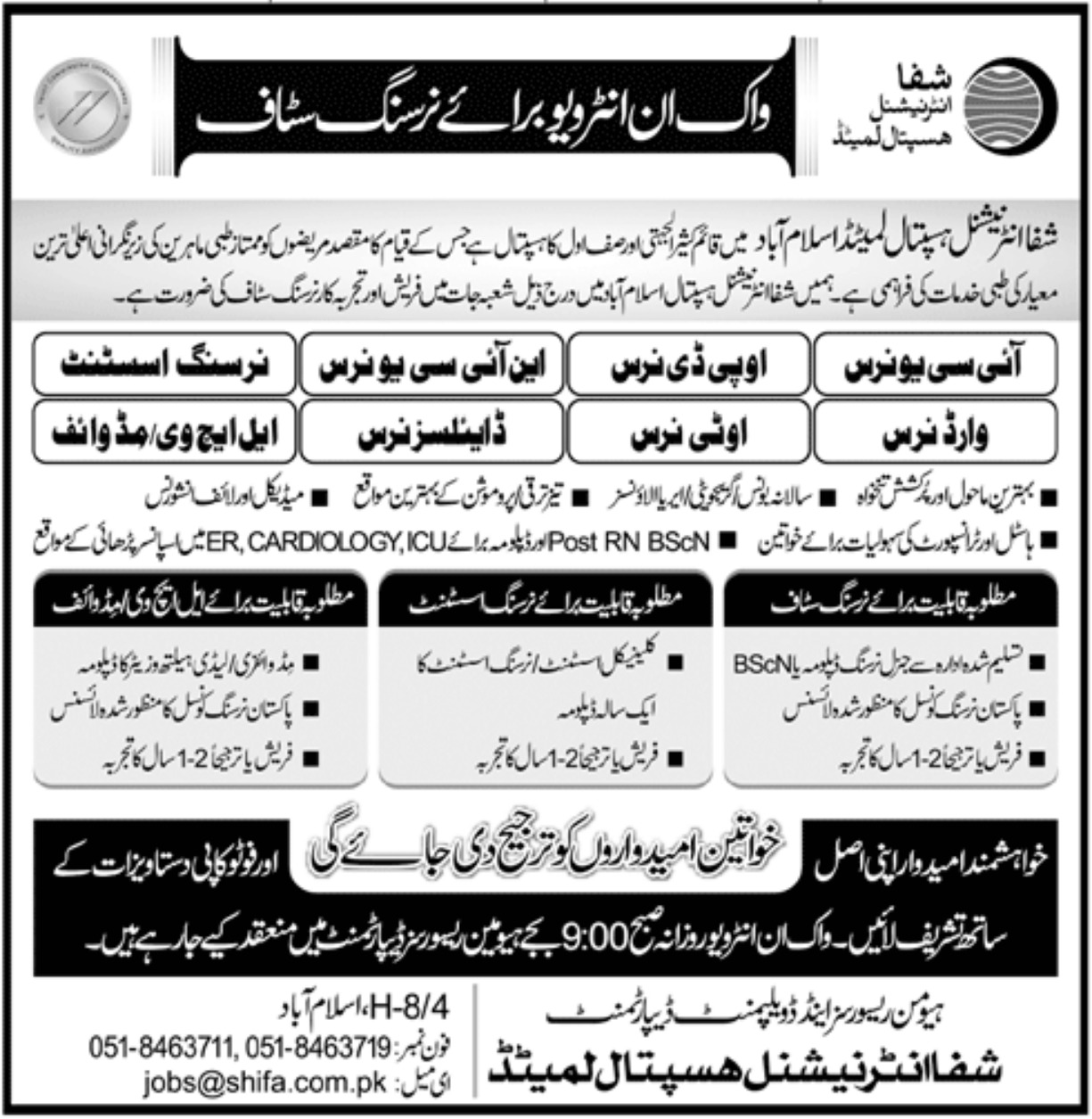 Shifa International Hospital Limited Jobs 2020