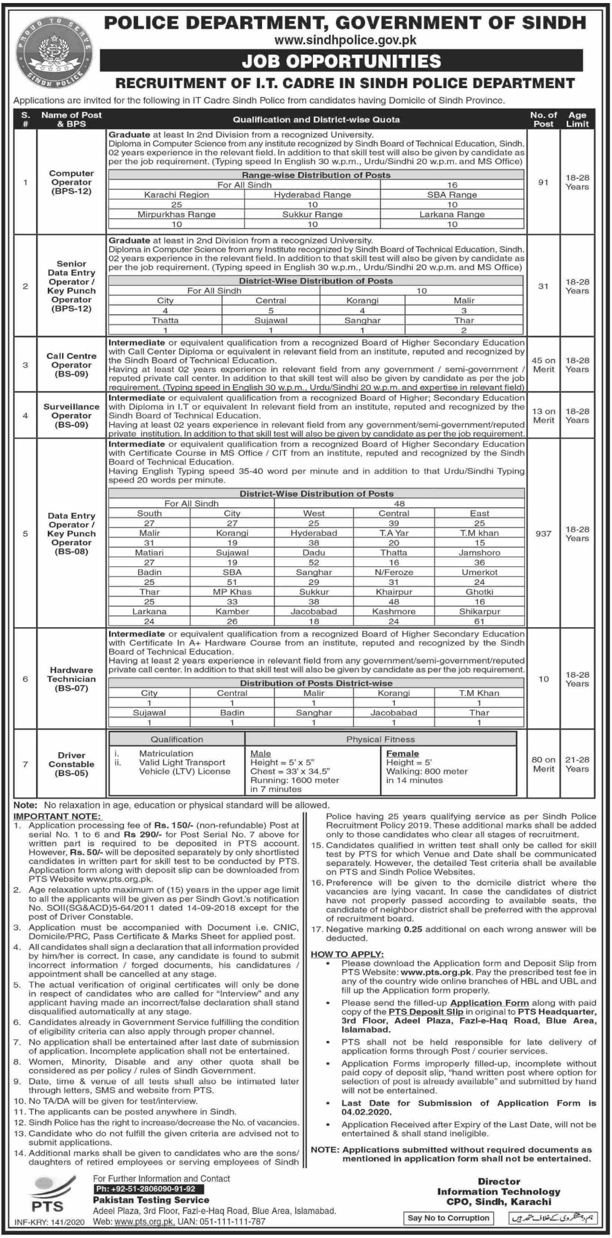 Sindh Police Department Jobs 2020 Apply via PTS