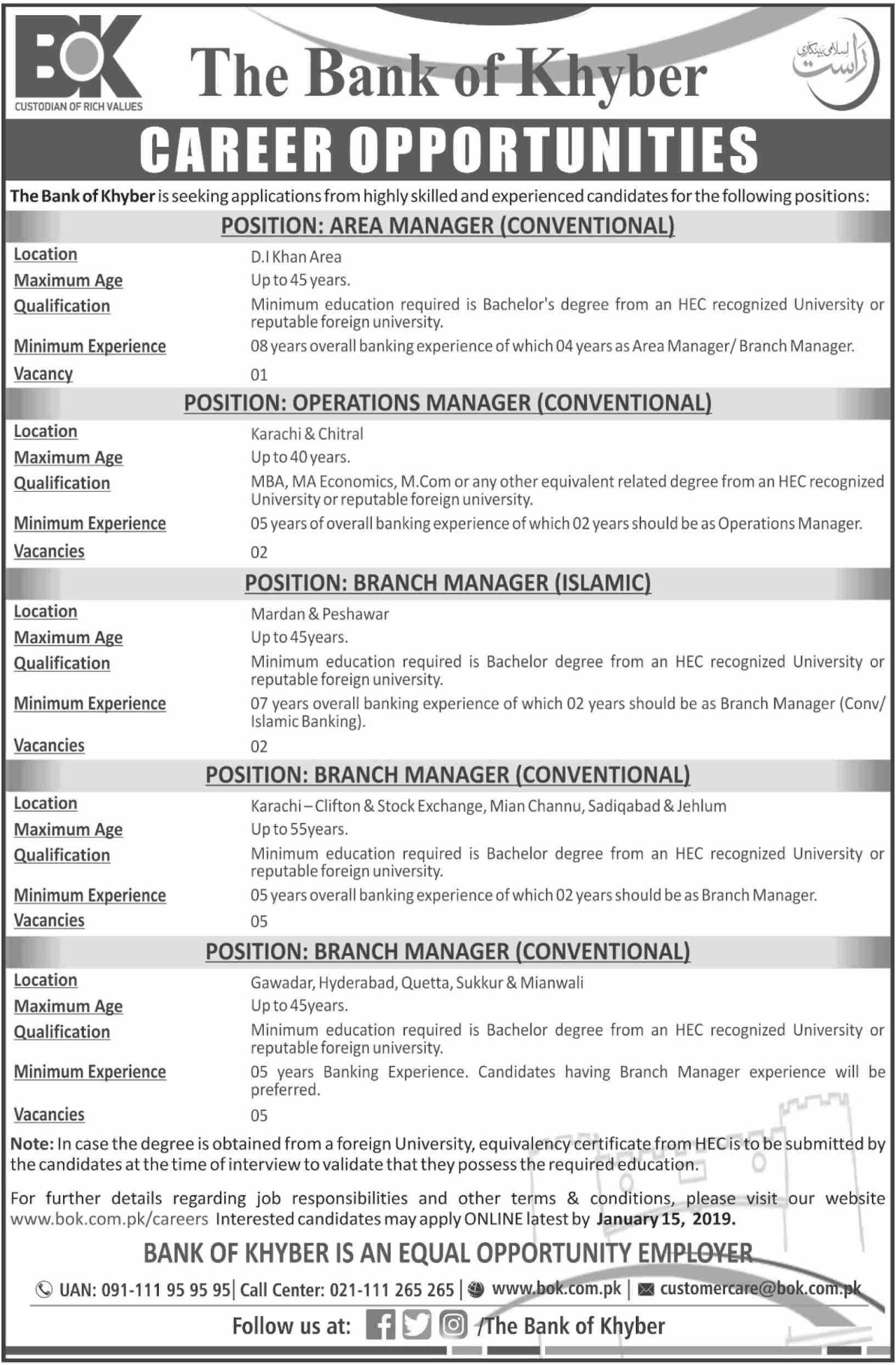 The Bank of Khyber Jobs 2020 Apply Online