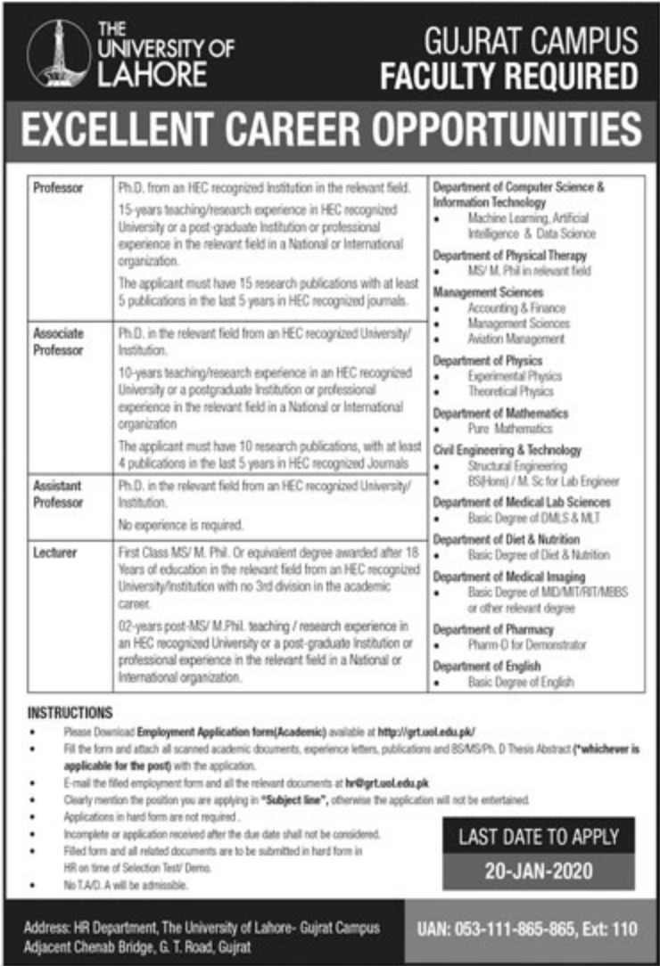 The University of Lahore Jobs 2020 Gujrat Campus