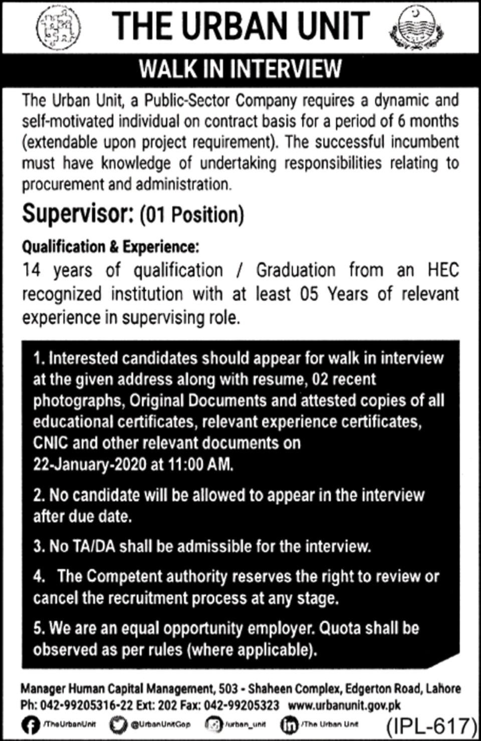 The Urban Unit Jobs 2020 Government of Punjab