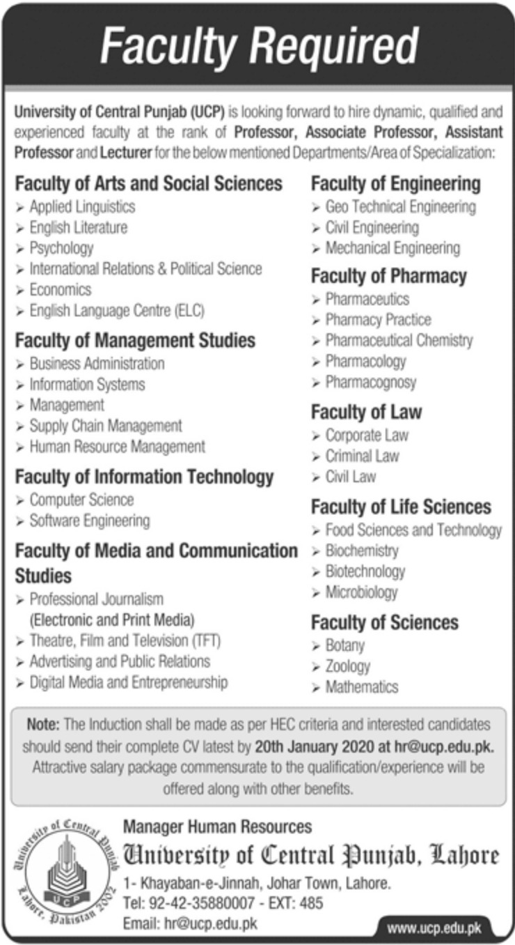 University of Central Punjab UCP Jobs 2020