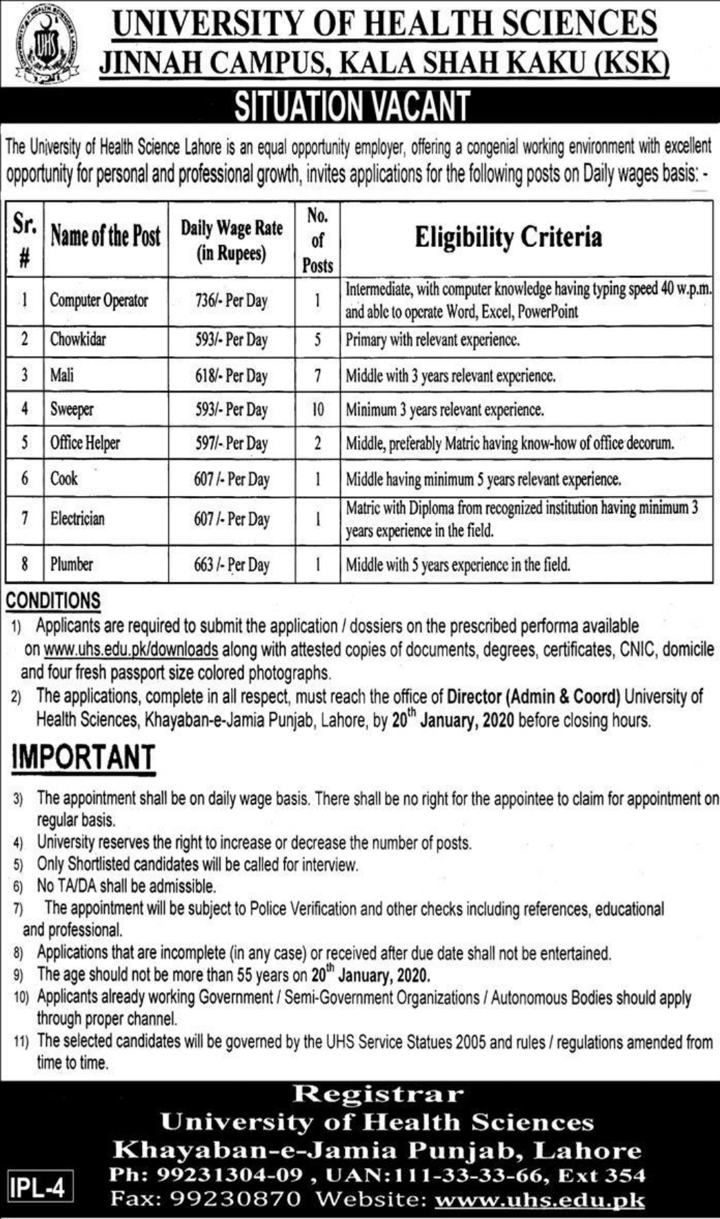 University of Health Sciences UHS KSK Jobs 2020