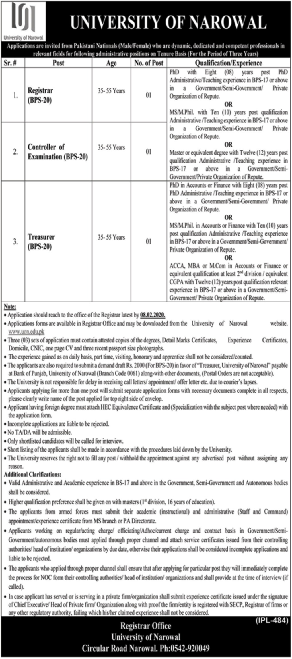 University of Narowal Jobs 2020 Download Application Form