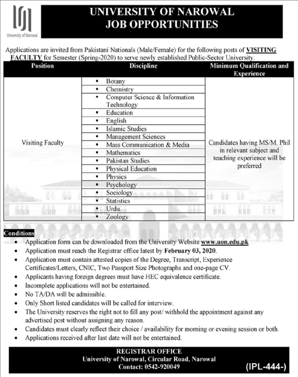 University of Narowal Jobs 2020 Visiting Faculty