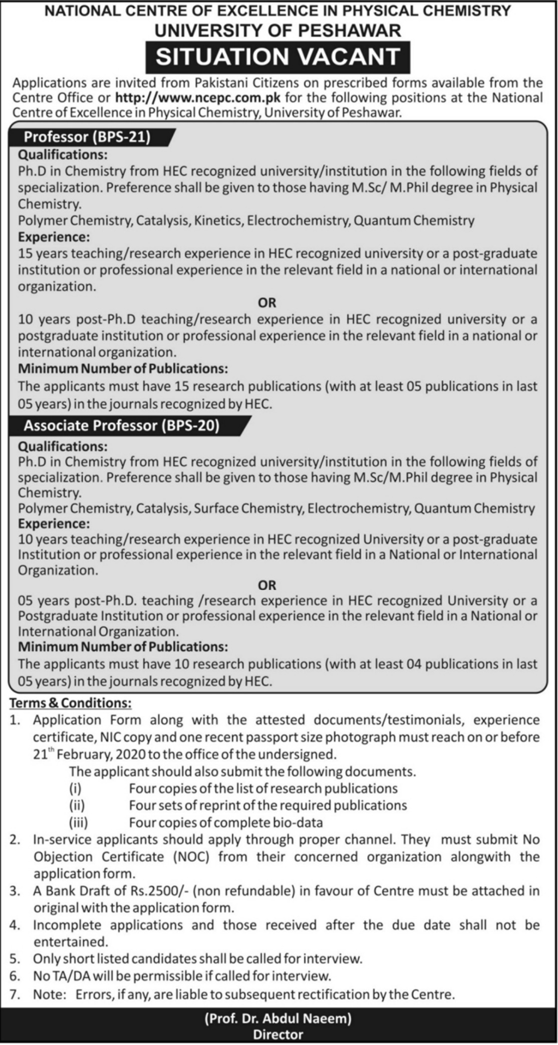 University of Peshawar Jobs 2020