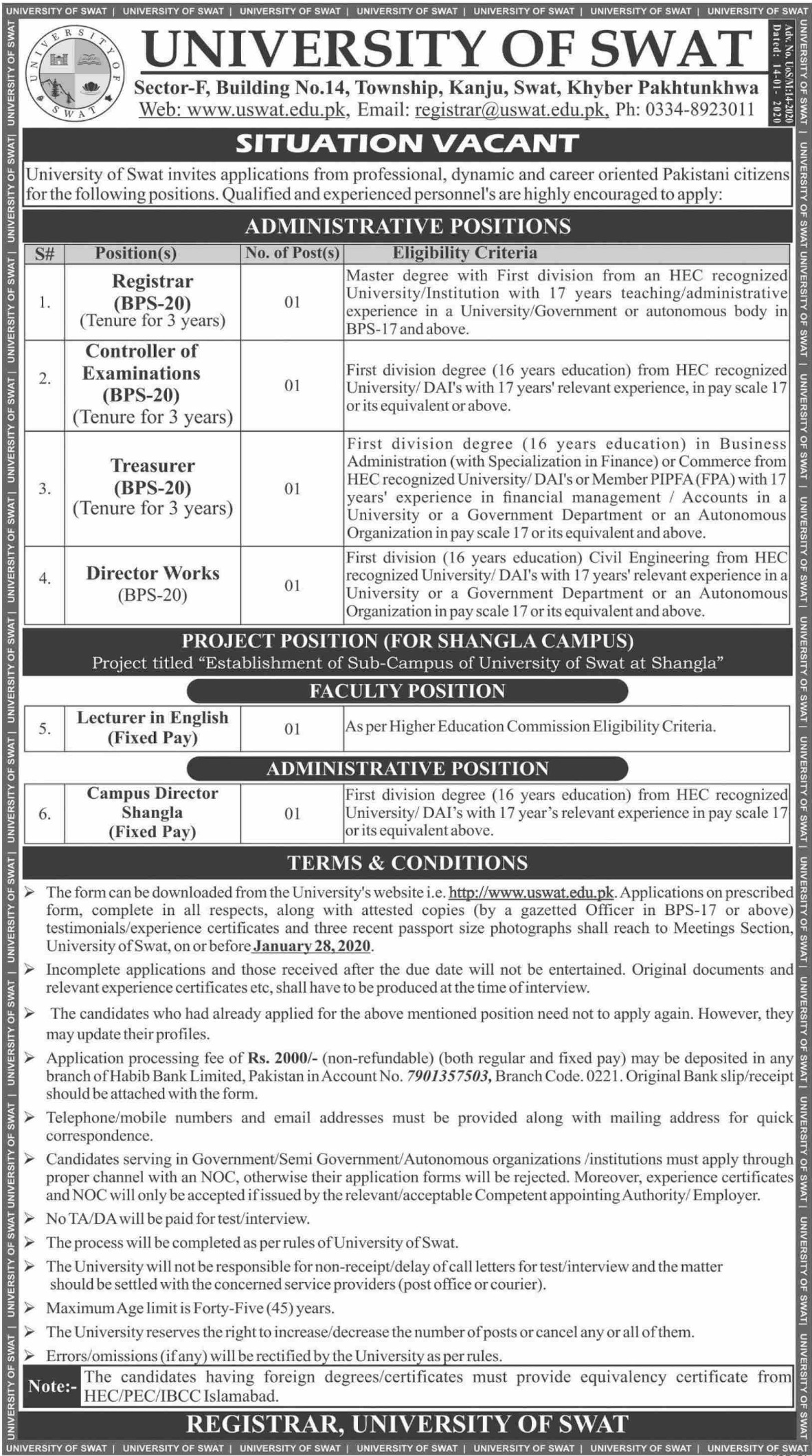 University of Swat Jobs 2020 Khyber Pakhtunkhwa