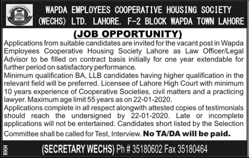 Wapda Employees Cooperative Housing Society WECHS Ltd Lahore Jobs 2020