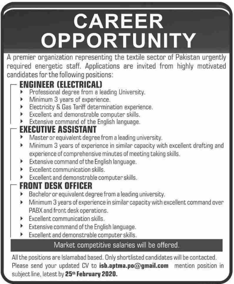 APTMA Pakistan Jobs 2020