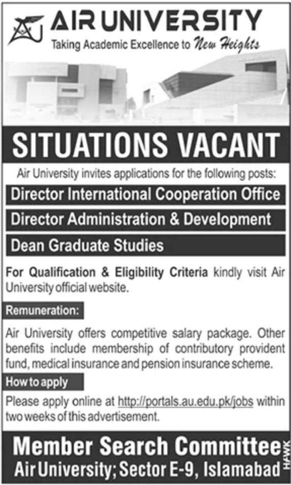 Air University Jobs 2020 Islamabad