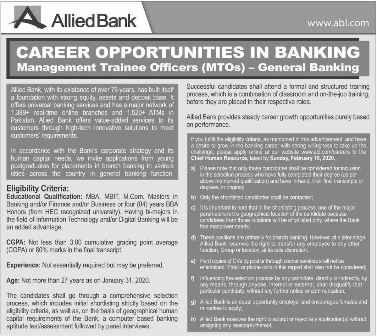 Allied Bank Limited ABL Jobs 2020 Management Trainee Officers MTOs