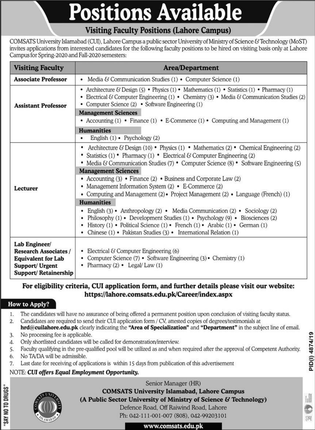 COMSATS University Islamabad CUI Jobs 2020 Lahore Campus