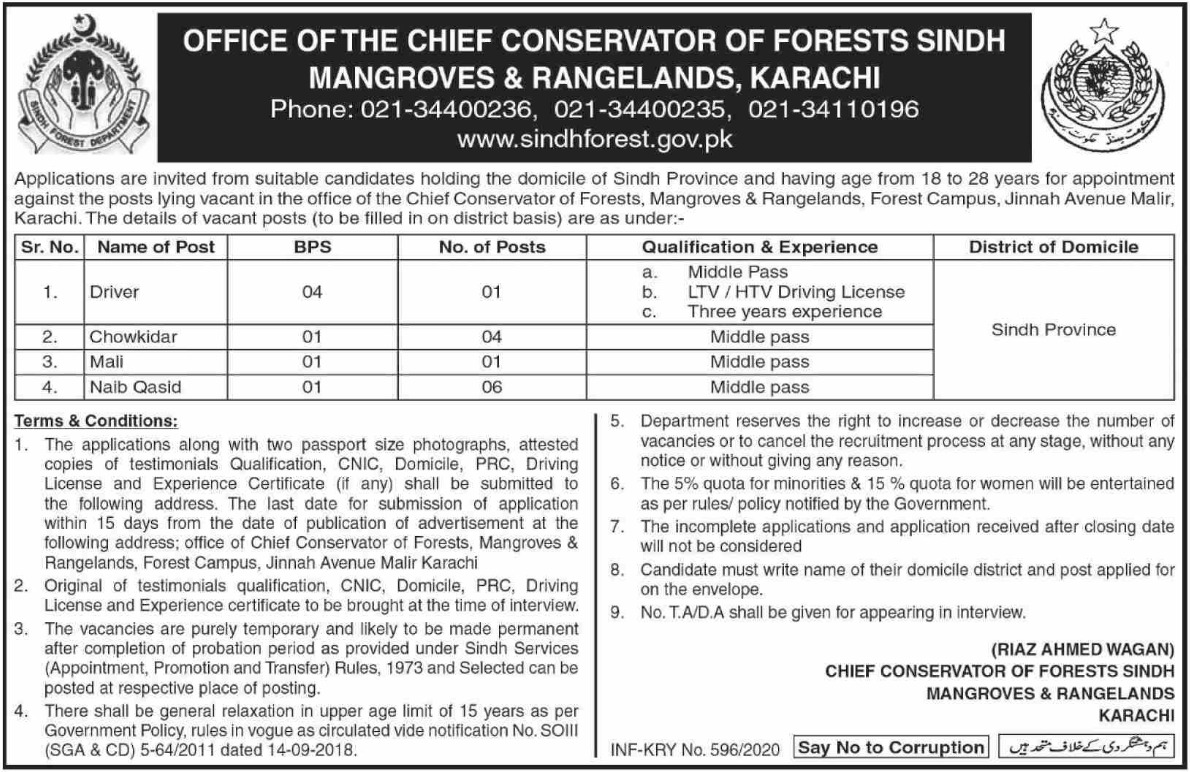 Forest Department Government of Sindh Jobs 2020