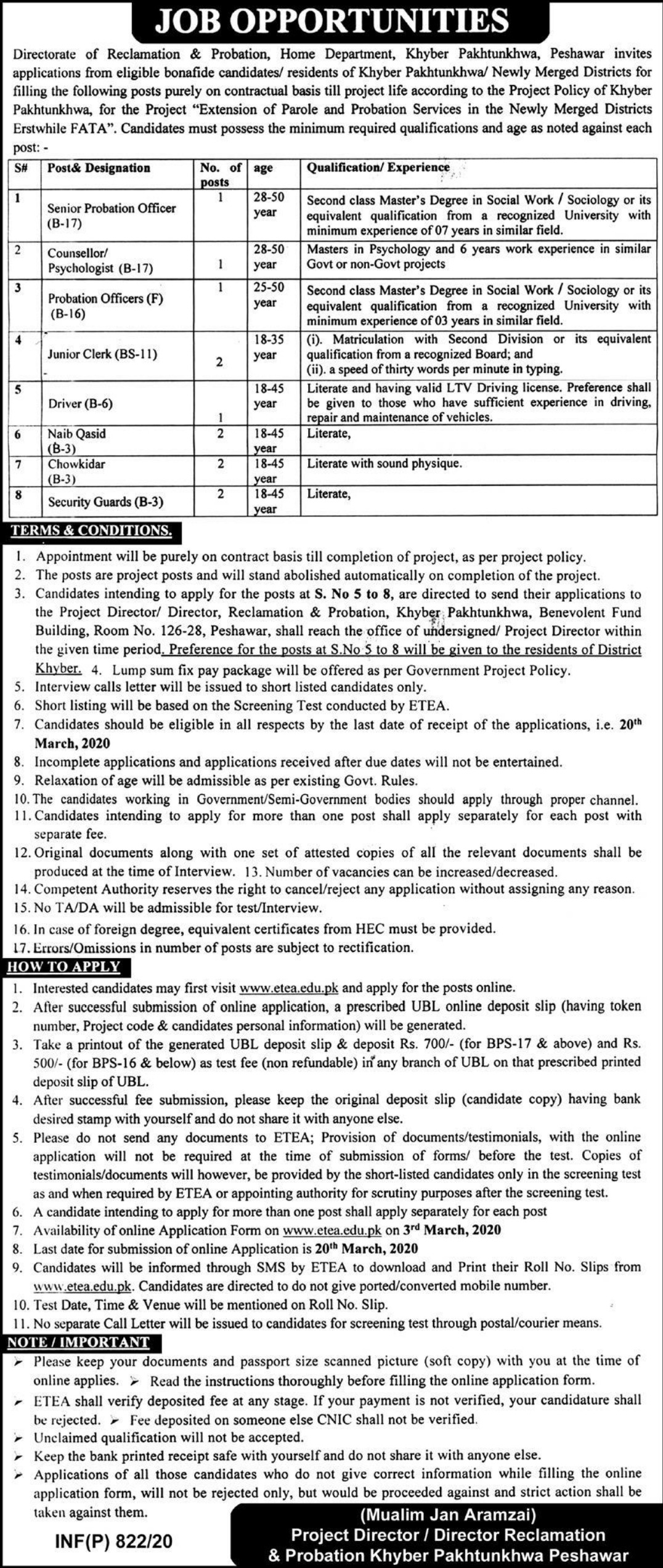 Home Department Khyber Pakhtunkhwa Jobs 2020 Peshawar