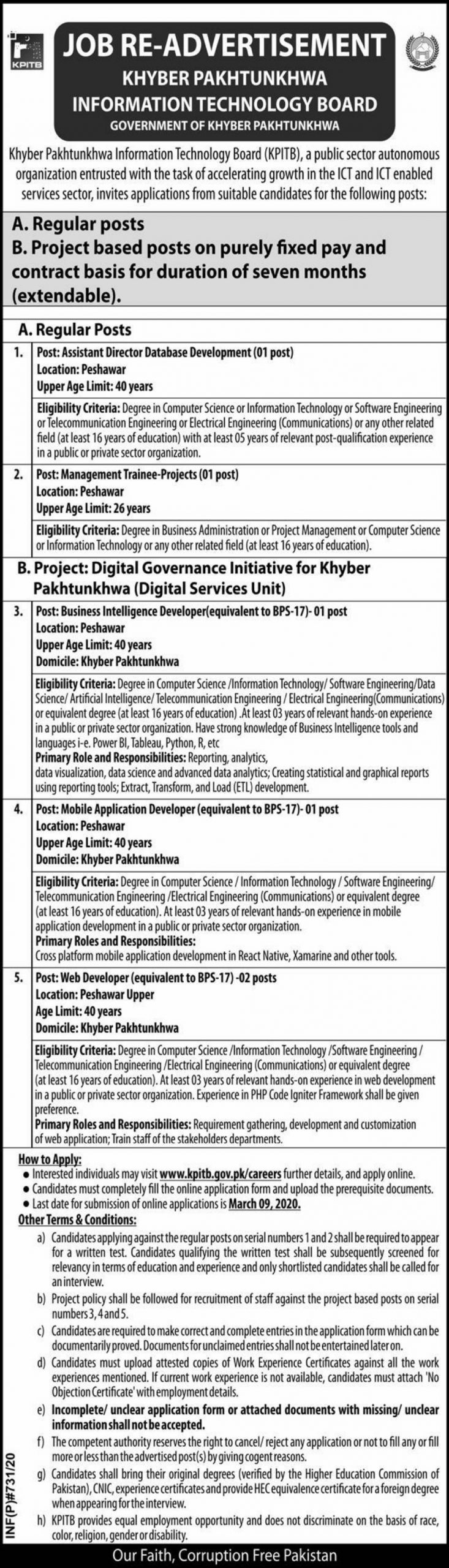 Khyber Pakhtunkhwa Information Technology Board Jobs 2020 KPITB