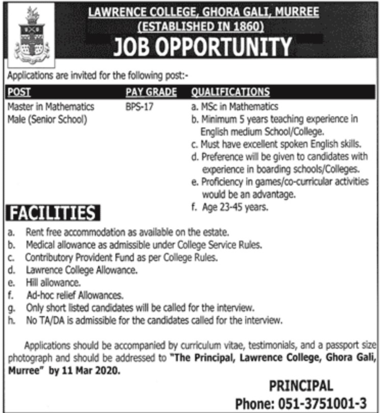 Lawrence College Ghora Gali Murree Jobs 2020