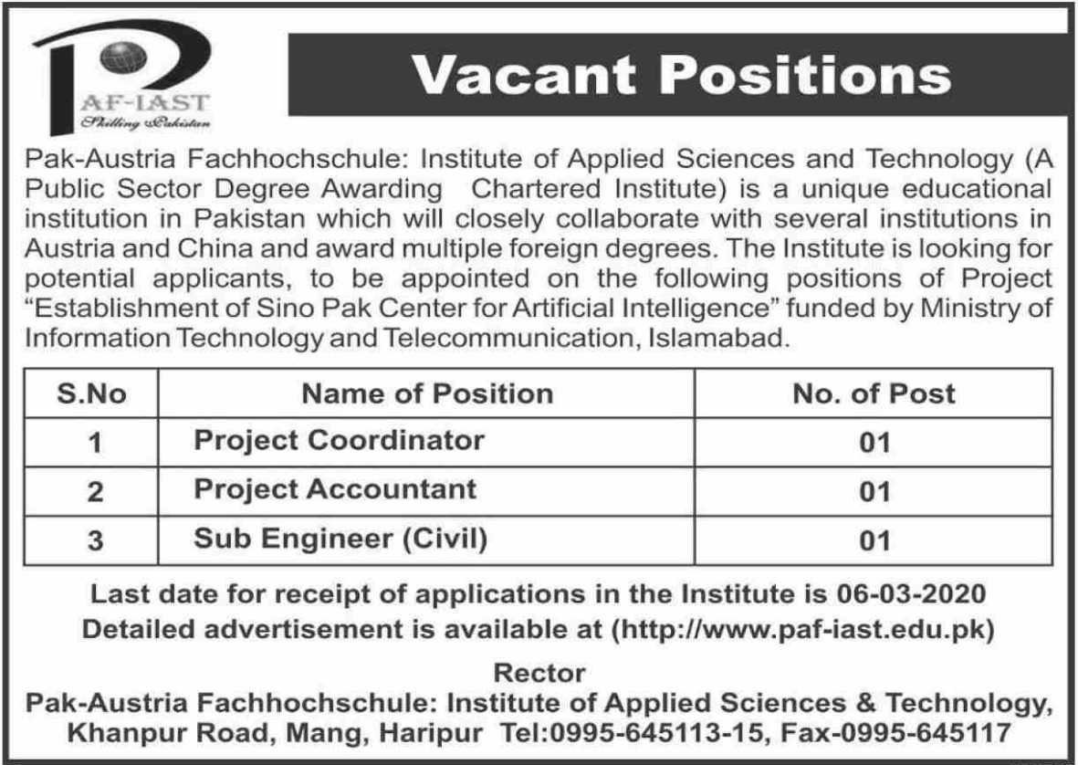 PAF IAST Jobs 2020 Institute of Applied Sciences & Technology