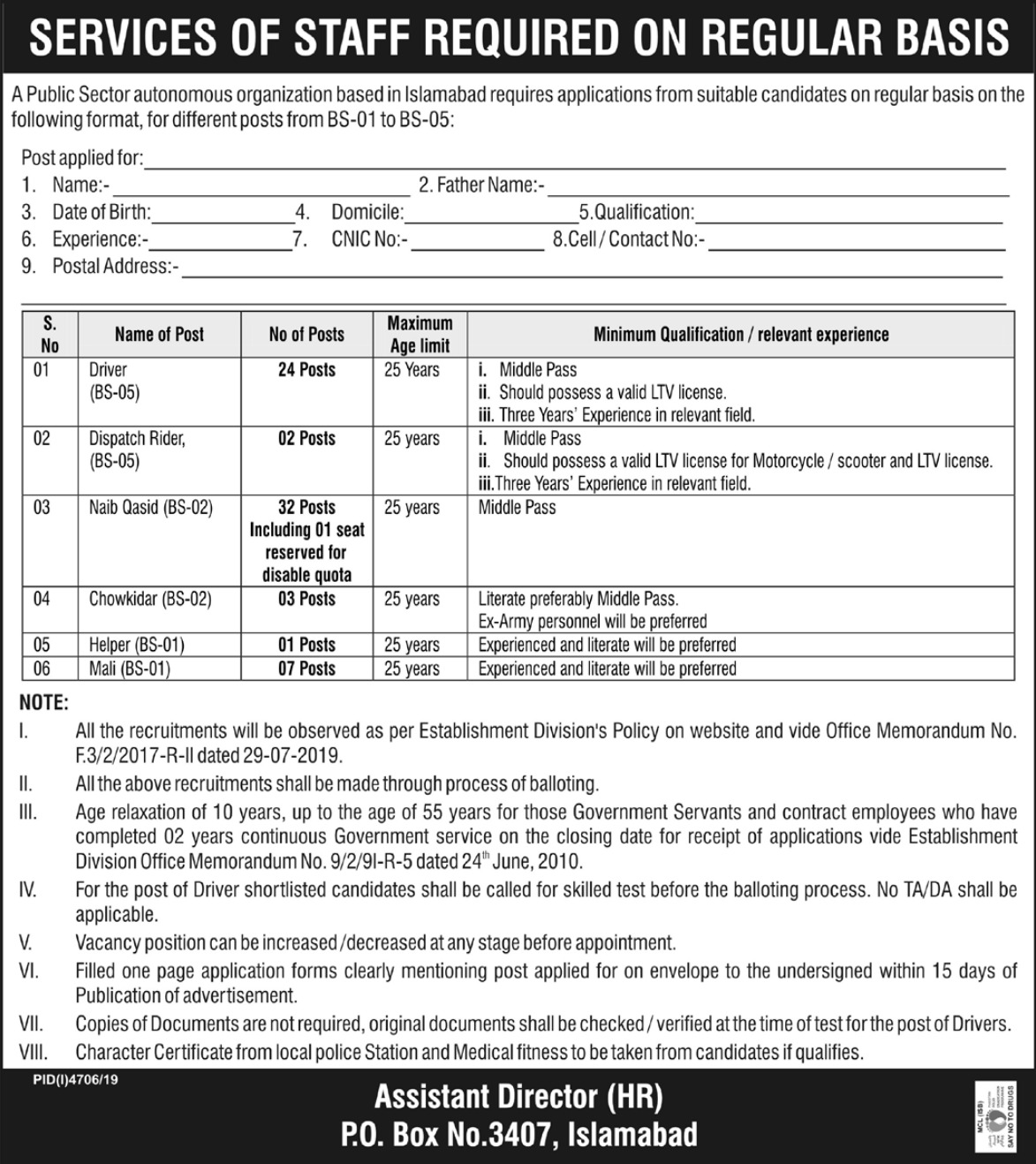 Public Sector Organization Jobs 2020 P.O.Box 3407 Islamabad