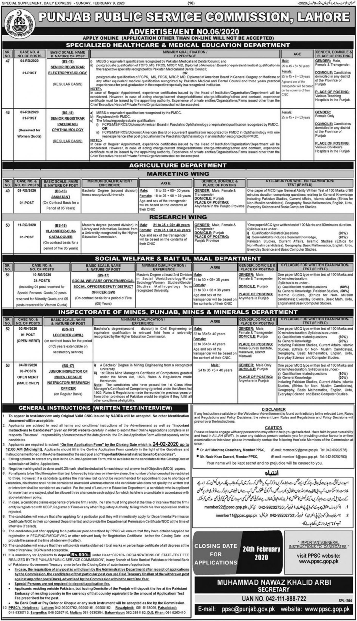 Punjab Public Service Commission PPSC Jobs 2020 Apply Online