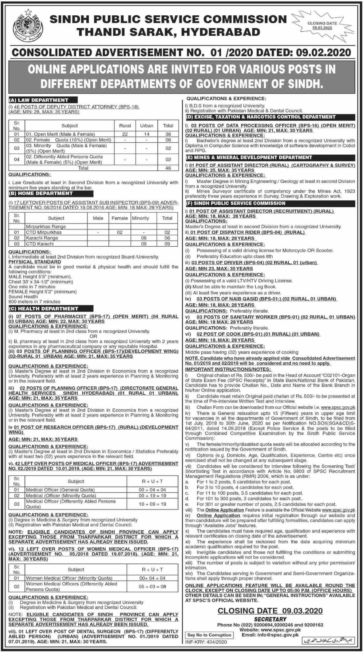 Sindh Public Service Commission SPSC Hyderabad Jobs 2020