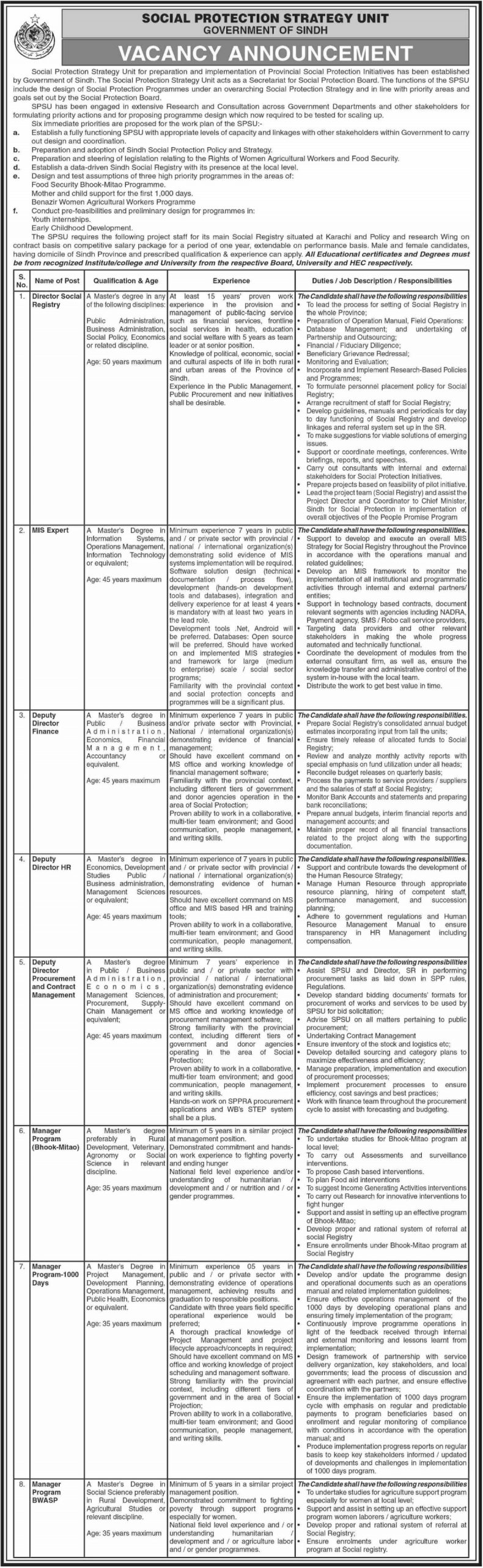 Special Protection Strategy Unit Karachi Jobs 2020 Government of Sindh