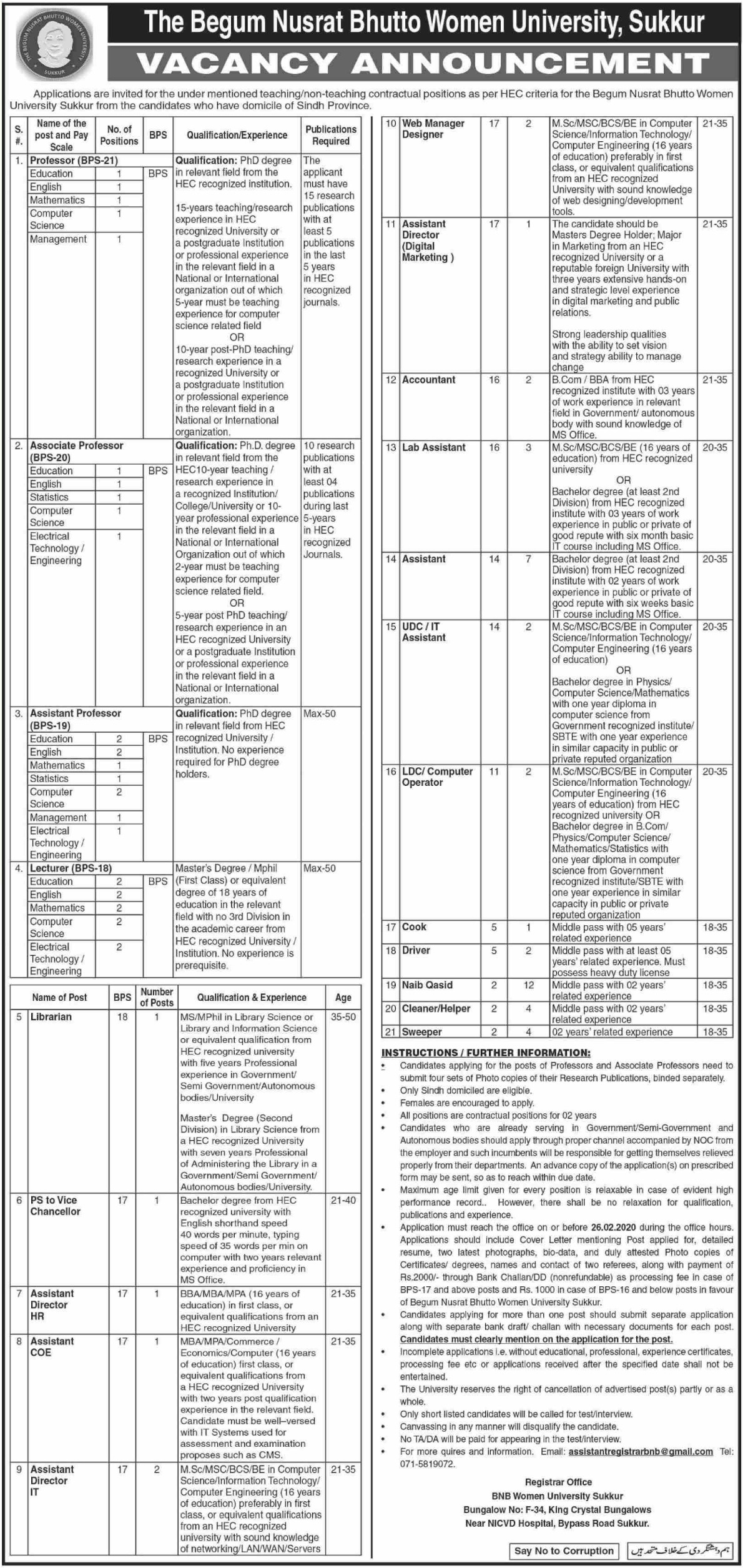 The Begum Nusrat Bhutto Women University Sukkur Jobs 2020